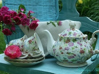 """I love teacups, teapots and all things tea!  My daughter calls me the """"Crazy teacup lady"""" ...you would understand if you saw my kitchen :)"""