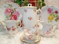 Hundreds of beautiful china dishes with rose designs, romantic, vintage style, cottage decor