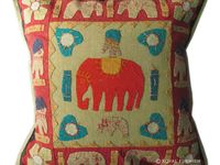 Elephant Appliqued Throw Pillows