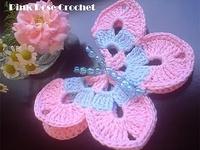 Flores e borboletas em crochet
