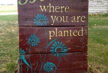 Garden Art Sign of the Times / Fine, signs, everywhere the signs. It may be a message or a letter, the signs are used in a decorative fashion. / by Ann Ayers