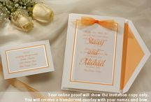Wedding Invitations-Brown-Copper-Orange / Wedding invitations in popular orange, brown or copper color themes. Great invitation colors for summer and autumn weddings / by Wedding Bedazzle