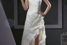 Asymmetrical Wedding Dresses / A-line V-neck Lace Satin Organza Asymmetrical Wedding Dress  / by eweddingdress