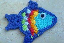 Fish, Sea creature, boat (handmade) - halak ls tengeri lények / by melinda munkai
