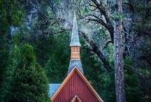 """Church Buildings / """"Unto him be glory in the church by Christ Jesus throughout all ages, world without end. Amen.""""  (Ephesians 3:21) / by Rebekah Schrepfer"""