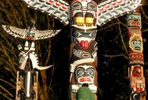 Native American Totems / Totem poles are developed to depict supernatural beings, representing the ancestry of Indian clans, and never to evoke religious awe.  / by Ray Harris