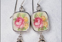 Broken China Jewelry Earrings / by Vintage Belle Broken China Jewelry