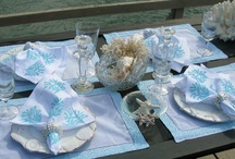 Coastal & Tropical Tabletop Linens / Coastal and tropical placemats, coastal table runners, coastal napkins and coastal kitchen towels. Beach themed linens of crabs, lobsters, seahorses, shells, sea turtles, octopus, palm trees, starfish, sand dollars, corals and fish. / by Outer Banks Trading Group, Inc.