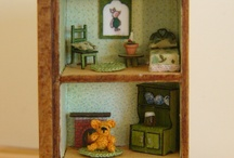 The House at Pooh Corner / 1/48 scale roomboxes with extra teeny tiny crochet Pooh and friends / by Mariella