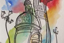 Sketching / Ink / Watercolor / by Daniel Fuentealba