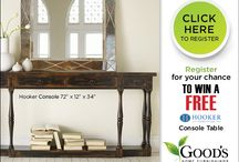 Hooker Furniture Consoles / http://www.goodshomefurnishings.com/CreateAccount.aspx  Register for your chance to win this beautiful Hooker Furniture Console. The perfect way to update the look of your home for FREE, register online through December 31, 2013 for your chance to win, or visit our stores in Charlotte NC and Hickory NC and see our beautiful Hooker Furniture collection.   Hooker Furniture handcrafted 4-drawer thin console in ebony by Hooker Furniture. 72 w x 12 d x 34 h   / by Good's Home Furnishings