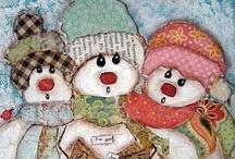 Snowmen, cute characters Clipart / by Carolyn Hollingshead