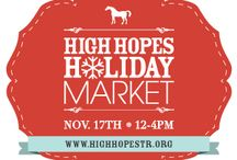 "Holiday Market 2013 / High Hopes welcomes back the third annual Holiday Market! Join us November 17th from 12:00-4:00PM for a ""don't miss"" Connecticut holiday event.  Our  indoor arena which will be transformed into a marketplace with a collection of more than 60 booths featuring unique merchandise and food from some of Connecticut's hottest food vendors.  Other attractions include kids games, live music, great raffle prizes and door prizes!   / by High Hopes Therapeutic Riding"
