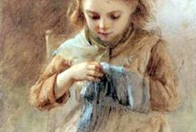 women and girls sewing,knitting, crocheting / by Melanie Jean Juneau