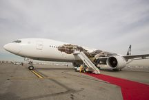Smaug swoops into Los Angeles #AirNZHobbit / Check out some of the pics of our new #AirNZHobbit Plane featuring Smaug, J.R.R. Tolkien's mythical dragon! #SmaugSpotting / by Air New Zealand