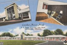 "Vintage Motel Postcards / LVA's new exhibit ""No Vacancy: Remnants of Virginia's Roadside Culture"" focuses on motels and tourist courts along Virginia's historic Route 1, highlighting architectural elements, the significance of race and class in the history of travel, and how the perception and operation of motels have changed over time. Enjoy these postcards showing the motels in their heyday! http://www.vamem.com/pf2 / by Library of Virginia"