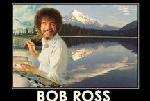 Bob Ross / Bob Ross happy trees no mistakes happy accidents evergreen landscape paint painter perfect wtf Bob Ross afro calm peaceful Bob Ross / by Madeline Rose