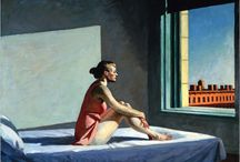 ARTIST : Edward Hopper / Edward Hopper (1940ish)-American Realism painter.  His works included such everyday scenes as motel rooms, filling stations and cafeterias.   / by Shelly Zeiden