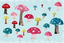 mushrooms toadstools / by Margo Mills Wayman Fallis