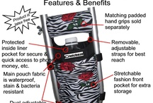 Crutch Bags / Innovatitive bags to secure to crutches to help carrying items when ambulating with crutches.  / by Crutcheze