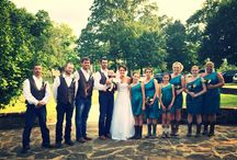 country wedding photo / Teal dresses, burlap, brown vests and boots / by Cindy Gipson