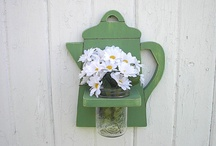 Shabby Chic Rustic Decor wood wall vase holders / Handmade wood wall mason jar holders for kitchen,bathroom,bedroom, office. / by Twigs2 Whirligigs