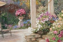 Beautiful ribbon embroidery. / Embroidered scenery, samplers, flowers and gardens. / by Jenni Jordan