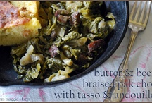 Butter & Beer Braised Pak Choi with Tasso and Andouille / by from maggie's farm