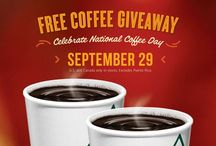 National Coffee Day 2013 / Join us this Sunday, September 29. Here's a 12oz Pick-Me-Up on Us! Krispy Kreme Celebrates National Coffee Day with a FREE Small Coffee, $1 Mochas and Lattes (at select shops) and a Chance to Win FREE Coffee For A Year. Get a FREE 12oz cup of hot coffee at participating Krispy Kreme US and Canada locations. No purchase necessary.  / by Krispy Kreme