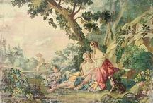"French Aubusson Cartoons and tapestry / by Christie Repasy Designs~ ""Chateau de Fleurs"""