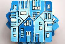 handmade wood tile coasters / handmade gift ideas / by archcessoires