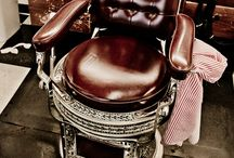Barber Shops and Barber's Chairs / Classic Barber Shops, leather chairs, and their signs  / by De Cervantes