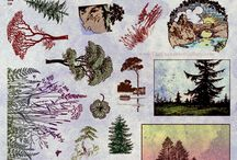 Rubber Stamp Sets & Projects / The Enchanted Gallery unmounted rubber stamp sets and example art. These stamps are Art Nouveau, nature, fantasy art, mermaid and fairy theme. Many suitable for domino art and polymer clay jewelry projects. / by The Enchanted Gallery