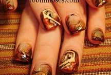 """Fall, Thanksgiving and Pre-Holiday Nail art / my favorite time of year! my mission always starts out being very motivated and then i go outside and i am swept away in the colors outside. i almost stop painting every fall because i cannot compete with nature. i will try again next year. :D i upload new designs every monday, wednesday and friday so subscribe, like, favorite and share my videos for others to learn! see new art all of the time for free and... if you copy please say """"inspired by robin moses"""") / by Robin Moses"""