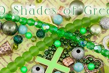 40 Shades of Green / Green is a color that can be found in so many varying hues. In some shades, it works well with blues and yellows; in others pinks or purples are suitable. Check back with us each week as our design team picks a shade of green and shows you how to work with it. / by Auntie's Beads