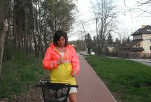 candy / pink/yellow raincoat , waterproof outfit great for bicycle ride around the town during the night - it has illuminating parts that make you visible for car drivers....feel free to contact me if you want to order one of these :)   / by BIKE WITH WERONIKA
