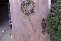 "Rustic Shabby Chic ish & Etc... / Custom made shabby rustic chic ish wall décor ""hobbit doors""  and silk flower arrangements plus etc etc / by Julie Bunch"