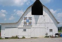 BARN QUILTS (Follow the Quilt Trails) / Growing numbers of community volunteers have made available large, brightly painted, quilt block patterns to place on the old barns & outbuildings throughout the south.  It has grown in popularity for tourists traveling the areas & bringing much needed revenue to the local merchants  The activity seems to be spreading in rural areas across the nation.  / by Ruby Bradley