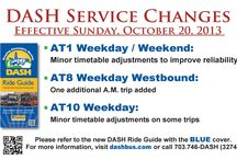 DASH Schedule Changes / Images of DASH schedule and route information / by DASH Bus