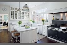 kitchen remodel / looking for examples of countertops with white kitchen cabinets / by Jennifer Malone
