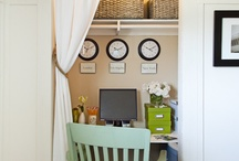 Office closet / Love the idea of the drapes on the tension rod instead of the closet doors! / by Stephie Wade