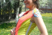 Bicycle waterproof vest / VEST NR 4 - pink/yellow waterproof vest which you can easily wear on top of another  (waterproof) jacket, it is great for bicycle ride around the town during the night - it has illuminating parts that make you visible for car drivers….feel free to contact me if you want to order one of these :) / by BIKE WITH WERONIKA