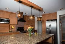 """HDD Portfolio:  Sedona Kitchen & Family Room  / HDD recently did a complete kitchen gut and remodel for """"out of town"""" homeowners. Look at the cool, relaxed Sedona theme. AND the completely custom 3form eco resin panels.   / by Leslie Hart-Davidson"""
