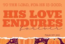 Give Thanks to the Lord for He is good! / God bestows great blessings upon his people even if they do not immediately see them. Give thanks to God for he takes care of, provides for, and is always looking out for you. / by NIV Bible by Zondervan