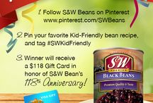 Pin To Win! / This contest has ended. Thanks to all who participated!  1. Follow S&W Beans on Pinterest: www.pinterest.com/SWBeans  2. Pin your favorite Kid-Friendly bean recipe, and tag #SWKidFriendly  3. Winner will receive a $118 Gift Card in honor of S&W Bean's 118th Anniversary! / by S&W Beans
