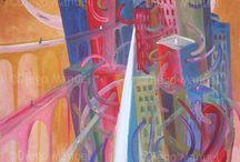 Cityscapes / Paisajes de ciudades / Diego Manuel | Artist Painter Sculptor. Abstract Art Surrealism  Pop  Realism  / by Diego Manuel