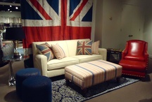 Cool Britannia Color Trend / With Union Jack-inspired themes and colors, this comfortable look combines heavily textured, nubby fabrics with architectural and industrial accents. A palette of British red, white and blue predominates. Amidst the mostly textural fabric story, look for occasional tongue-in-cheek references to classical motifs, such as roses or quatrefoils. / by Norwalk Furniture
