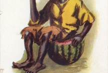 """Racist Images of Blacks & Watermelons / All of these are postcards and images from my collection.  I have created a Tumblr site titled """"Watermelon Chronicles"""" to archive this collection.  I decided that it was worth sharing it here too.  There is a long history of racist representation of black people in America.  The association between watermelons and black people dates back to the era of slavery. You can find these images at my tumblr site -- http://watermelonchronicles.tumblr.com/ / by Prison Culture"""