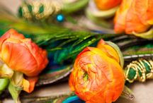 Orange and Peacock Wedding / Wedding Flowers / by Fleur Decor