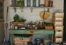 GARDEN Potting Benches ♥ / Potting benches, potting tables, garden tools, supplies, accessories. Work areas. Beautiful. Functional. Creative. Smart. Repurposed. Upcycled. DIY.  / by Melissa @EmpressOfDirt.net  ❤